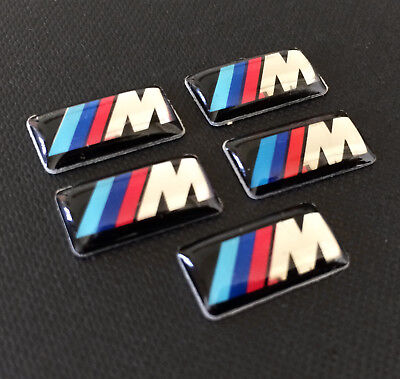 5x M Sport Alloy Wheel Stickers Badge Logo Emblem For BMW Steering Wheel Shifter