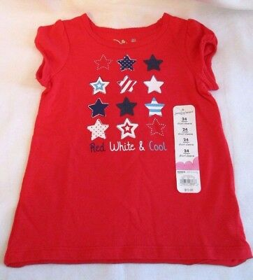 Jumping Beans Red White Cool Stars Girls Size 24 months Red Shirt New