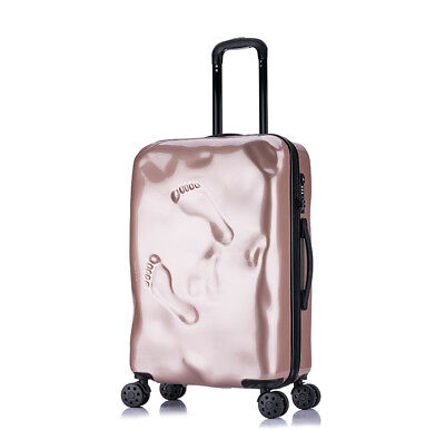 D970 Rose Gold Coded Lock Universal Wheel Travel Suitcase Luggage 24 Inches W