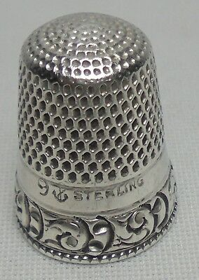 Vintage Sterling Silver Ornate Scroll Thimble #9 Early STERN & CO. c 1890 1908