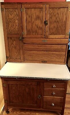 ANTIQUE ORIGINAL tiger oak Hoosier Cabinet by SELLERS kitchen top ESTATE PIECE