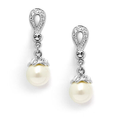 Mariell Silver Platinum Plated CZ & Ivory Pearl Drop Bridal or Wedding Earrings