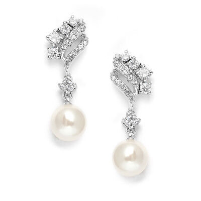 Mariell Silver Platinum CZ and Ivory Pearl Bridal Earrings for Weddings & Prom