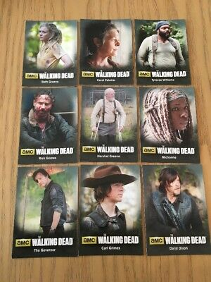 The Walking Dead Season 4 Part 1 - Complete 9 Card Character Set.