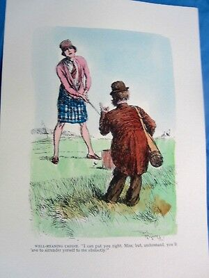 """1930 Antique Art Print Frank Reynolds """"well-Meaning Caddy: Put Your Golf Right"""""""
