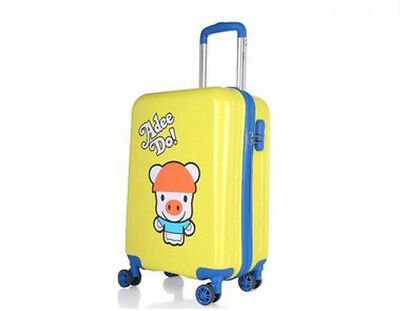 D43 Yellow Cartoon Pig Universal Wheel Suitcase Luggage Trolley 18 Inches W