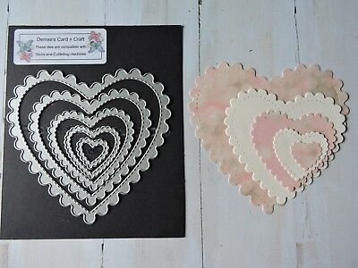 Craft Metal Die compatible with  Cuttlebug or Sizzix -  Frilled Edge Heart Set
