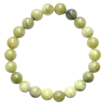 Premium CHARGED Chinese Green Jade Crystal 8mm Stretchy Bracelet  PROTECTION