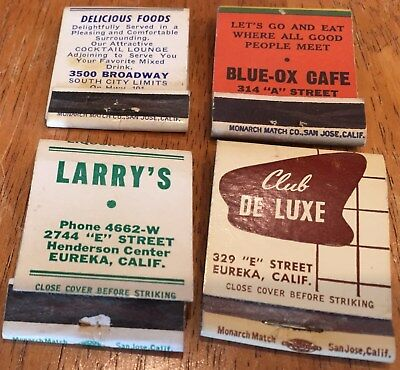 Vtg Matchbook Covers. 8 Diff. Eureka, California Lounges & Rodeos
