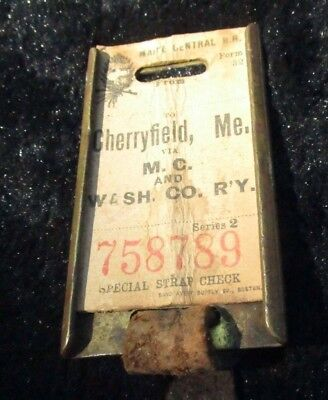 Maine Central Railroad Baggage Tag Cherryfield, Me. Calais Maine Washington Rare