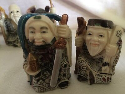 """Five Vintage Tiny Old Chinese Wise Men Faux Bone Resin Hand Painted Kimonos 2"""""""