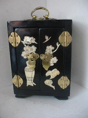 Vintage Chinese Oriental Black  Mother of Pearl Lacquered Jewellery box.