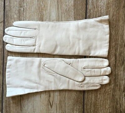 Vintage Creme Natural Leather Womens Cashmere Lined Gloves Size 8