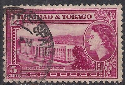 Trinidad and Tobago 1953 QE2 5c Red used stamp ( E1324 )