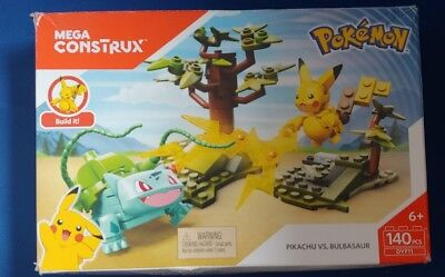 Mega Construx Pokemon Pikachu vs. Bulbasaur Building Set Damaged Box