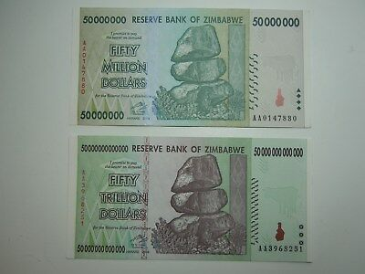 1 Set of 50 Million and 50 Trillion Zimbabwe Bank Notes!