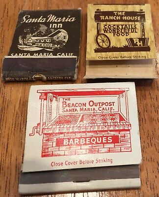 Vtg Matchbook Covers. 5 Diff. Santa Maria, California Lounges, Motel, Diners