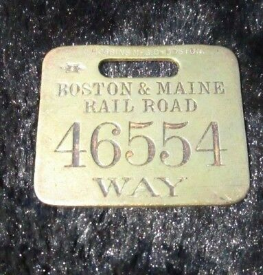 Antique Brass Boston and Maine Baggage Tag Train Locomotive Railroad OLD