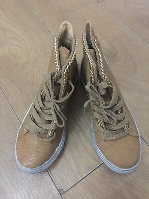 Gold Chain Trim Snake Effect Camel Trainers