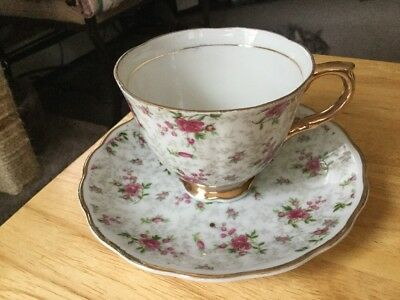 Vintage NAPCO Tea Cup And Saucer White/gold Pink Roses