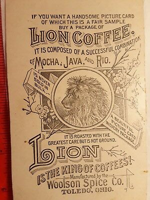 Vintage Lion Coffee Trade Card Postcard Woolson Spice Toledo OH Silver Trimmed