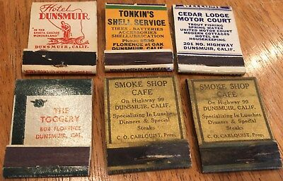 Vtg Matchbook Covers. Lot Of 6 Dunsmuir, California