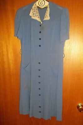 1940's Womens Vintage Blue Crepe Dress Button Front Lace Collar