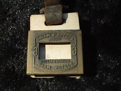 Boston and Maine Baggage Tag Stencil Rare Antique Brass Train Locomotive Bags