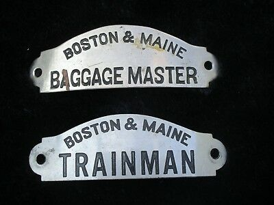 Two Boston & Maine Baggage Master and Trainman Hat Badges Antique - Early 20th C