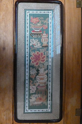 Marshall Fields Tag Framed Fabric Antique Art Asian Chinese Japanese Indian