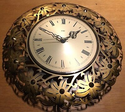 Metamec Gold Leaf Effect Floral Wall Clock 60/70s Vintage - Retro Clock.