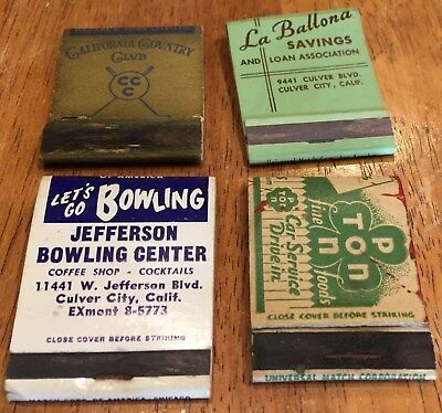 Vtg Matchbook Covers. Lot Of 4 Culver City, California