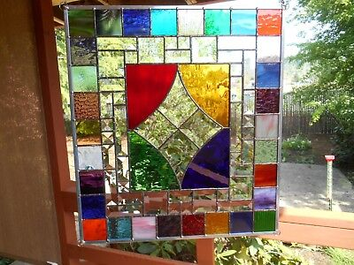 4 multi colored stained glass panel with bevels for ellenwill0