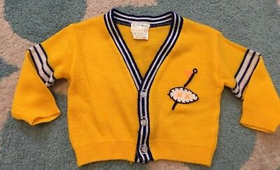 Vintage Baby Clothes Boy Sweater Cardigan Size 12 Months Soft Spun