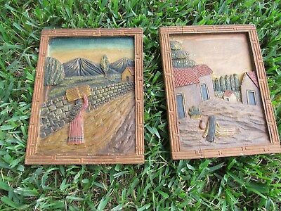 Vintage Mexican Bas Relief Wood Panels Pair 1940's