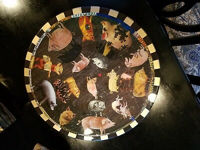 Annie Modica Pig N Out Lazy Susan Table Tray Decopauge 18×18. NWOT $400 Retail