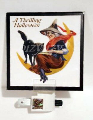New Reproduction Vintage Thrilling Halloween Witch Scrap Art Night Light
