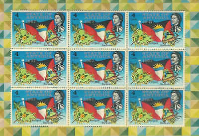 British Commonwealth ANTIGUA Block of 9 1967 MNH Vintage stamps A1