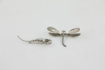 2 Vintage 925 STERLING SILVER INSECT BROOCHES Moonstone Scorpion & Dragonfly 23g