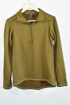 Beyond Clothing Size SMALL (S) Grid Fleece 1/4 Zip Brown Pullover FREE SHIPPING!