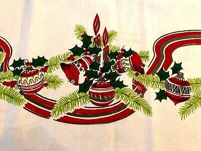 Vintage Tablecloth Red Green Christmas Ornaments Lanterns Holly  50 x 50 NICE