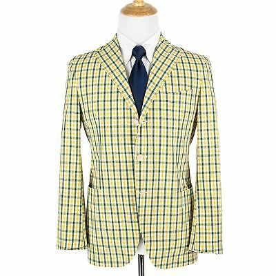 NWT Eidos Yellow Green Cotton Plaid Dual Vents Unstructured 3/2 Roll Jacket 40R