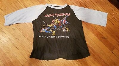 "Vintage Iron Maiden ""piece Of Mind 83"" Tour Shirt. Original Well Worn. Awesome"