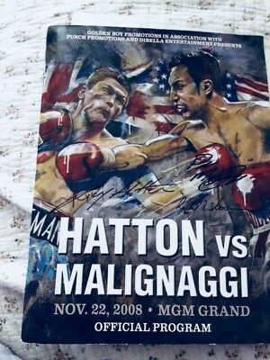 Hatton Vs Malignaggi Dual signed Programme With Certificate Of Authenticity