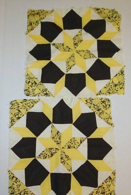 2 Antique Orphan Quilt Blocks Orphan Rolling Star Black and Yellow