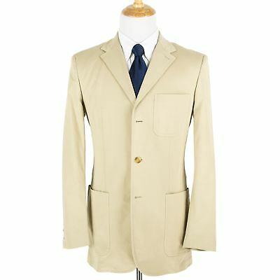 Alfred Dunhill Tan Cotton Twill Patch Pkt Unlined Flat Frnt 3Btn Summer Suit 38L