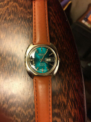 Vintage NOS Renis Men's Swiss Made 25j Automatic Watch, Day/Date! Mint Condition
