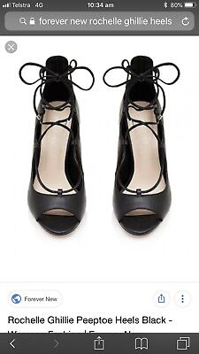 Forever New Rochelle Ghillie Peeptoe Heels Size 39 8 Brand New Shoes Black