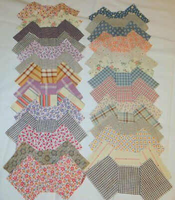 1930s Feedsack Fabric Bow Tie Quilt Blocks and Bow Ties Lot 50 Pieces