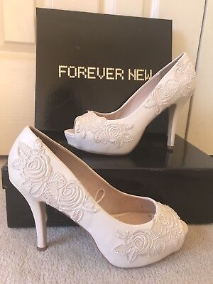 Forever New Heels, Shoes, Lace Detail Size 40, 9 Weeding, Formal, Evening